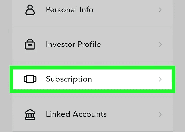 """Step 5: Select, """"Subscription"""" option."""