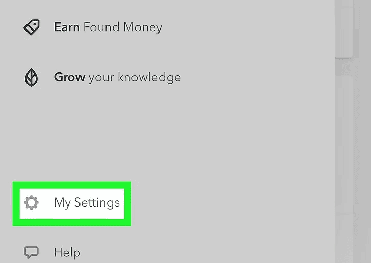 """Step 3:  Select, """"My Settings"""" option from the menu."""
