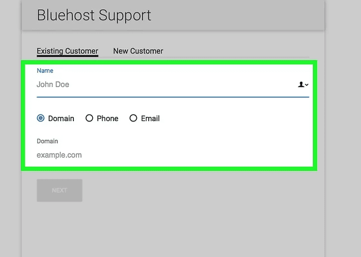 Step 5:Now, provide all the details prompted by the Bluehost representative. Such as your last name, first name, domain name, last digitals of your cPanel login password, last 4 digits of your credit card, (if paid by Paypal) 7 digit Paypal invoice number.