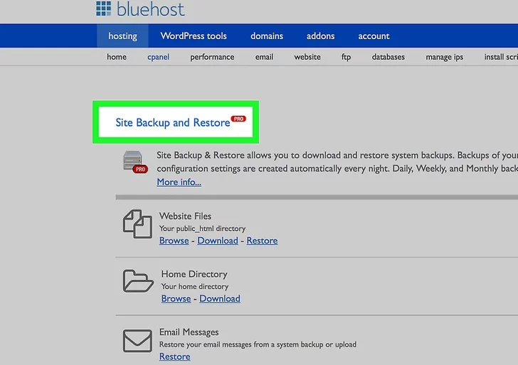 Step 2: Download all your data before canceling the Bluehost account.