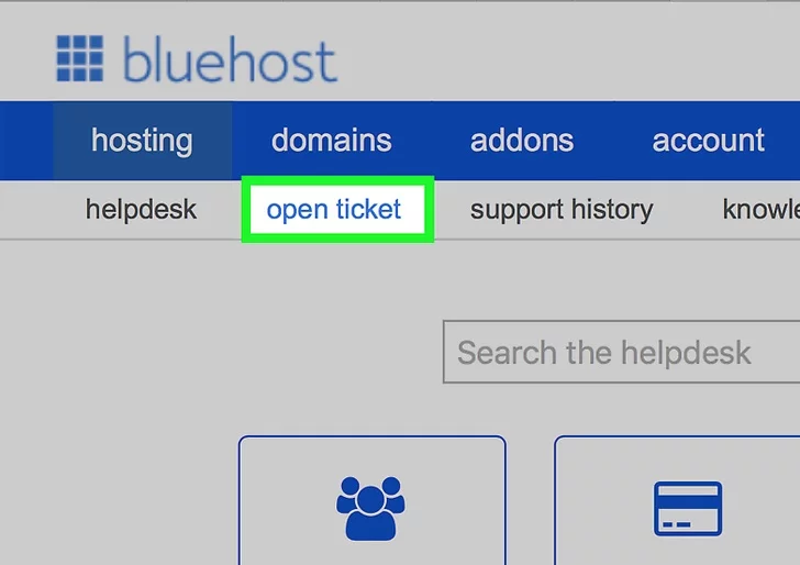 """Step 3: Then, from the Bluehost dashboard to the menu, select the """"Open ticket"""" option to initiate the process of raising a ticket to close your Bluehost account."""