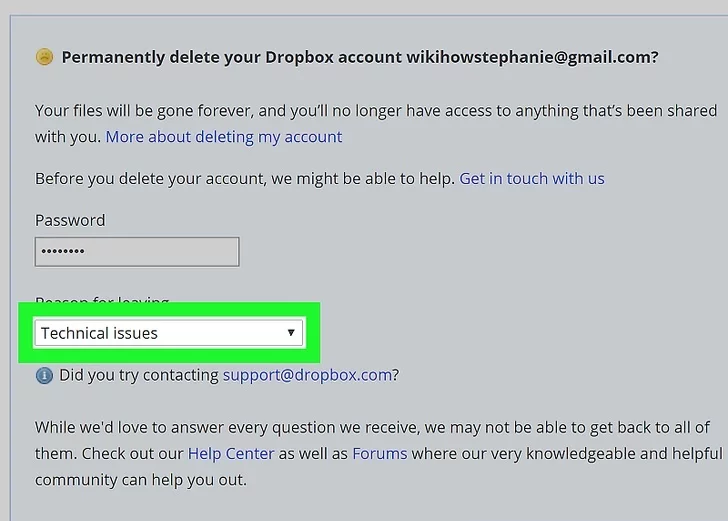 Step 7: Opt for a reason to delete the dropbox account.