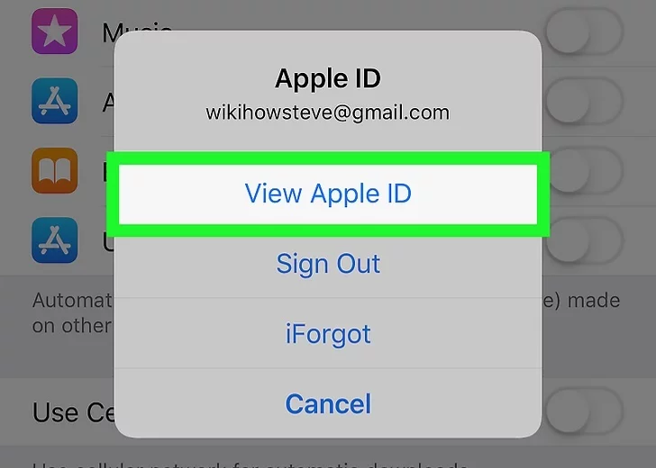 """Step 5: Now, from the pop-up menu, select, """"View Apple ID"""" option."""