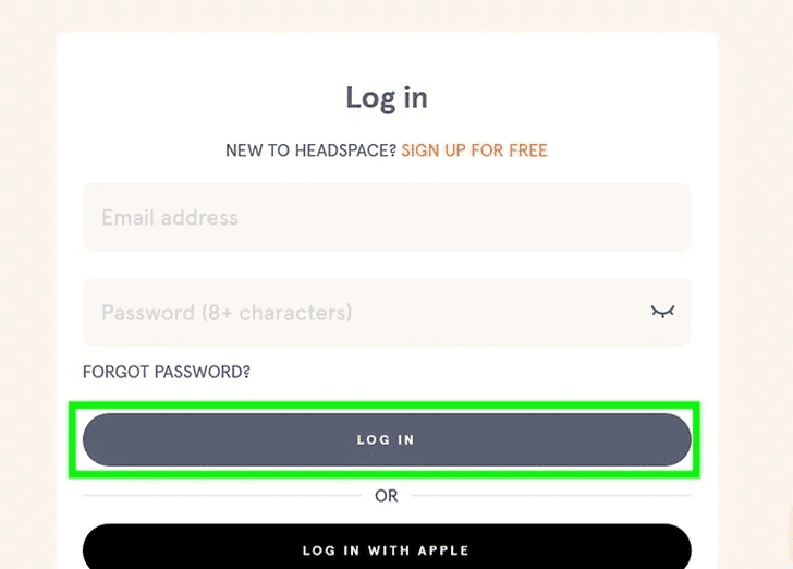 Step 2: Now, log into your Headspace account.
