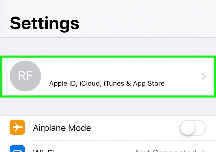 Step 2:  Tap on your name, to open up a list of options on your screen.