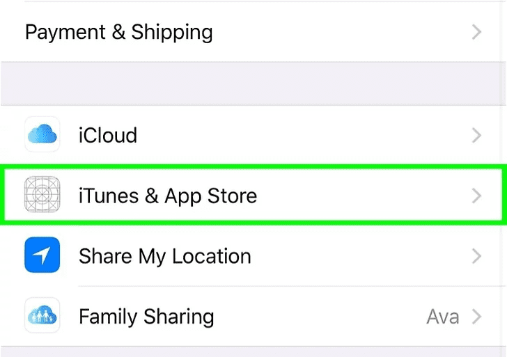 Step 3: Select iTunes & App Store.